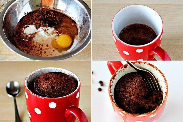 Как сделать шоколадный кекс в стакане
