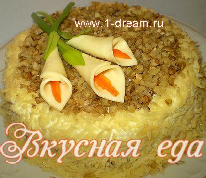 Слоеный салат курица с ананасом грибами