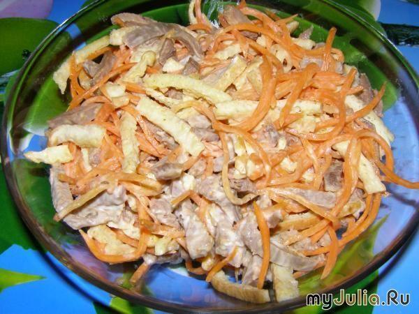Салат обжорка с говядиной и корейской морковью рецепт