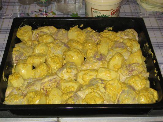 Приготовить курицу с картошкой в духовки