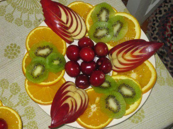 красиво нарезать яблоко и грушу фото
