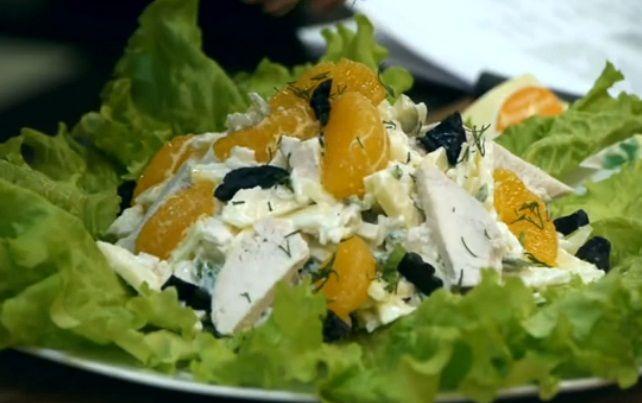 Салат с мандаринами и курицей рецепт с